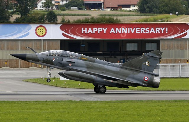 A Dassault Mirage 2000N of Ramex Delta French Air Force lands after its performance during the Air14 airshow at the airport in Payerne August 31, 2014. The Swiss Air Force celebrates their 100th anniversary with the biggest airshow in Europe this year. (Photo by Denis Balibouse/Reuters)