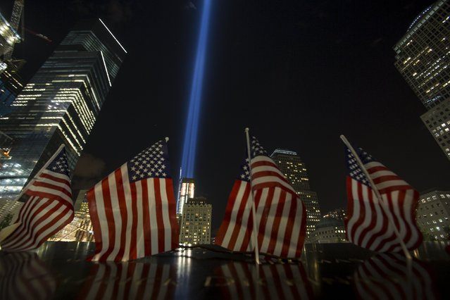 The Tribute in Light is seen on the 14th anniversary of the 9/11 attacks on the World Trade Center at the National September 11 Memorial and Museum in Lower Manhattan in New York September 11, 2015. (Photo by Andrew Kelly/Reuters)