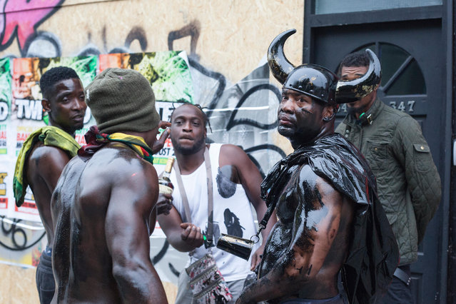 The traditional early morning Jouvert Parade kicks off the first day of Notting Hill Carnival, one of the world's largest street festivals in London, UK on August 28, 2016. At the parade paint and flour is thrown. In 2016 Notting Hill Carnival celebrates its 50th anniversary. (Photo by Bettina Strenske/Alamy Live News)