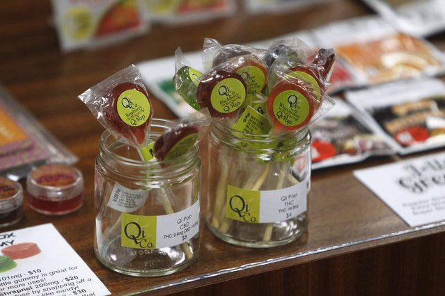 Edibles are displayed at Shango Cannabis shop on first day of legal recreational marijuana sales beginning at midnight in Portland, Oregon October 1, 2015. (Photo by Steve Dipaola/Reuters)