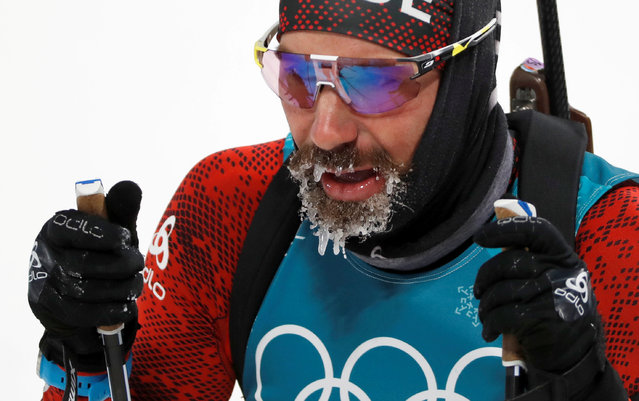 Switzerland's Benjamin Weger of Switzerland is seen after competing in the men's 12.5km pursuit during the Pyeongchang 2018 Winter Olympic Gamesin Pyeongchang, South Korea. (Photo by Murad Sezer/Reuters)
