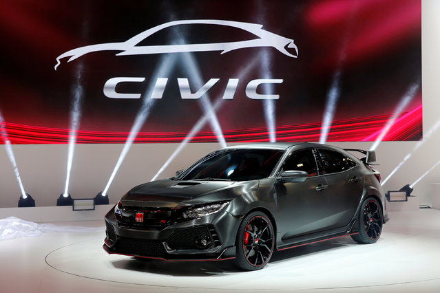 The Honda Civic Type R Prototype is displayed on media day at the Paris auto show, in Paris, France, September 29, 2016. (Photo by Benoit Tessier/Reuters)