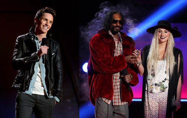Eddie Redmayne, and Snoop Dogg and Ke$ha appear at the MTV Movie Awards. (Photo by Invision)