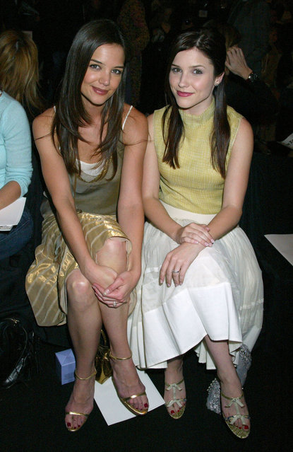 American actress Katie Holmes and Sophia Bush during Olympus Fashion Week Fall 2005 – Vera Wang – Backstage and Front Row at Bryant Park Tents in New York City, New York, United States. (Photo by Gregory Pace/FilmMagic)