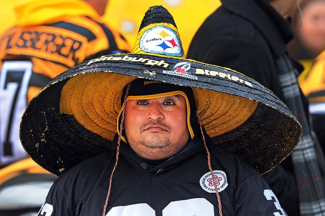 A Pittsburgh Steelers fan watches warm ups before an NFL football game between the Pittsburgh Steelers and the Kansas City Chiefs in Pittsburgh, Sunday, December 21, 2014. (Photo by Don Wright/AP Photo)