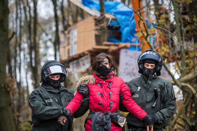 Police officers carry an activist out of the Dannenroeder forest to record their personal details on November 11, 2020 near Stadtallendorf, Germany. In numerous camps and maybe 100-150 tree houses activists are staying in protest against the construction of the A49 and to hinder deforestation. The police now have to clear the tree houses and camps bit by bit. This will take several weeks. (Photo by Thomas Lohnes/Getty Images)