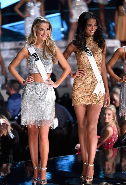 Top 15 contestants Miss USA 2015, Olivia Jordan, (L) and Miss France 2015, Flora Coquerel, compete during the 2015 Miss Universe Pageant at The Axis at Planet Hollywood Resort & Casino on December 20, 2015 in Las Vegas, Nevada. (Photo by Ethan Miller/Getty Images)