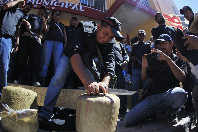 A member of the Community Police of the FUSDEG (United Front for the Security and Development of the State of Guerrero) slices open a bag of marijuana, which they said weighed approximately 40kg, after it was seized in a bus during an operation in the village of Petaquillas, on the outskirts of Chilpancingo, in the Mexican state of Guerrero, February 1, 2015. (Photo by Jorge Dan Lopez/Reuters)