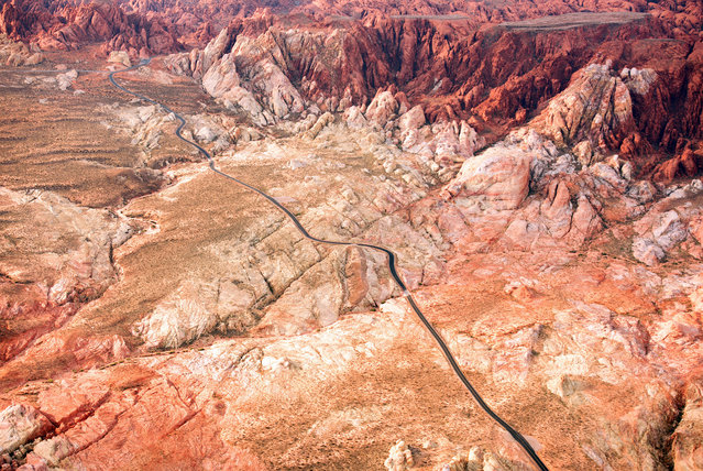 A Road through the vast Nevada desert. (Photo by Jassen Todorov/Caters News)