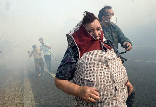 A member of the Spanish Civil Guard helps people during a fire in the village of Cabreiro, Spain, August 30, 2015. (Photo by Miguel Riopa/AFP Photo)