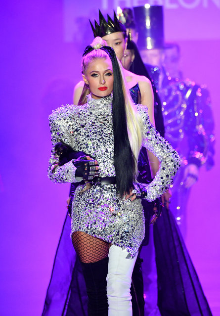 Paris Hilton and a group of models walk the runway at the Disney Villains x The Blonds NYFW Show during New York Fashion Week: The Shows at Gallery I at Spring Studios on September 7, 2018 in New York City.  (Photo by Dia Dipasupil/Getty Images for Disney)