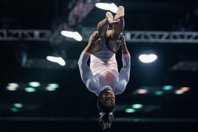 Simone Biles performs during the vault at the U.S. Classic gymnastics meet in Indianapolis, Saturday, May 22, 2021. (Photo by A.J. Mast/AP Photo)