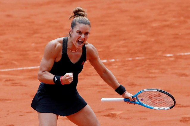 Greece's Maria Sakkari reacts during her women's singles quarter-final tennis match against Poland's Iga Swiatekon Day 11 of The Roland Garros 2021 French Open tennis tournament in Paris on June 9, 2021. (Photo by Gonzalo Fuentes/Reuters)