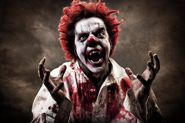 A stock photo of a creepy evil vampire clown. (Photo by Todd Keith/Getty Images/Vetta)