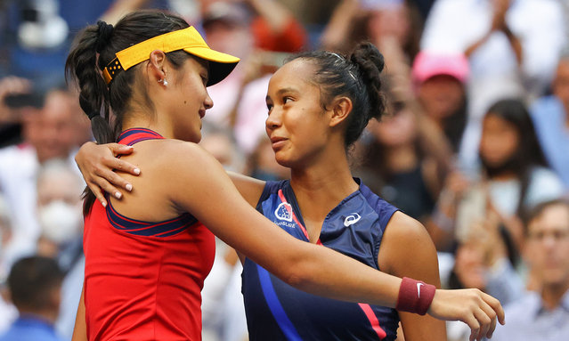(L-R) Emma Raducanu of Great Britain and Leylah Annie Fernandez of Canada embrace after Raducanu's win during their Women's Singles final match on Day Thirteen of the 2021 US Open at the USTA Billie Jean King National Tennis Center on September 11, 2021 in the Flushing neighborhood of the Queens borough of New York City. (Photo by Al Bello/Getty Images)