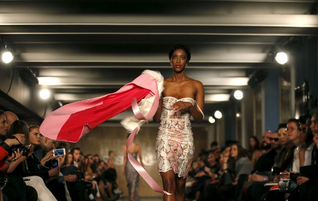 A model presents a creation by designer Rose Palhares, as part of her Fall/Winter 2016/17 collection, during Lisbon Fashion Week, Portugal, March 12, 2016. (Photo by Rafael Marchante/Reuters)
