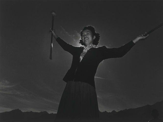 Florence Kuwata during baton practice at the Manzanar War Relocation Center in California, in this 1943 handout photo. (Photo by Courtesy Ansel Adams/Library of Congress, Prints and Photographs Division/Reuters)