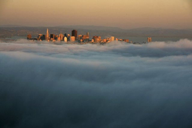 The skyline of San Francisco appears above the evening fog as the suns sets on the Marin Headlands in Sausalito, California, United States in this April 18, 2009 file photo. (Photo by Robert Galbraith/Reuters)