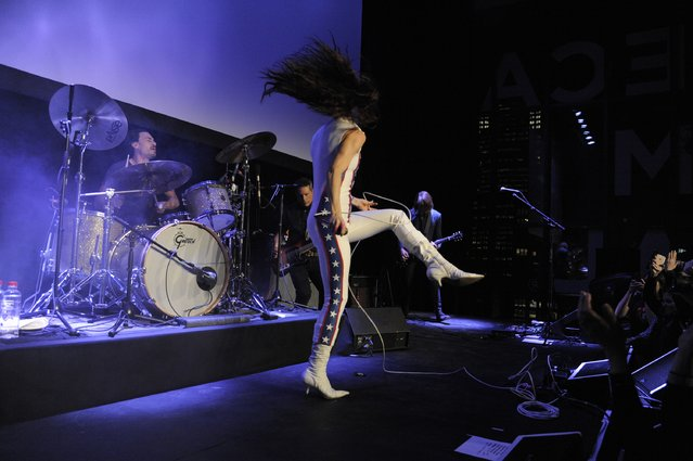 """Juliette Lewis of Juliette and The Licks performs live during the 2016 Tribeca Film Festival Shorts: """"Hard Lovin' Woman"""" premiere at Spring Studios on April 15, 2016 in New York City. (Photo by Matthew Eisman/Getty Images)"""