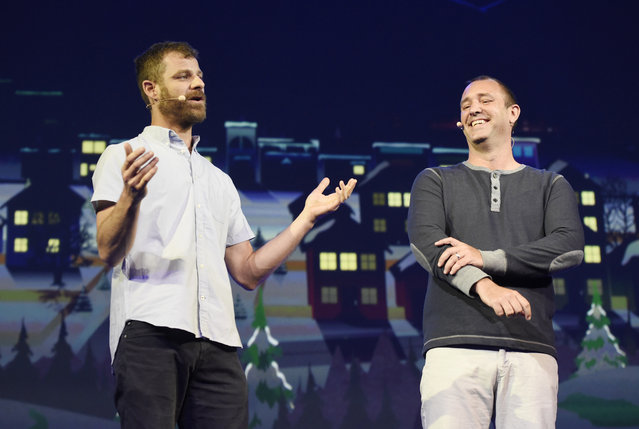 """""""South Park"""" creators Matt Stone, left, and Trey Parker discuss the """"South Park: The Fractured But Whole"""" video game onstage at Ubisoft's E3 2015 Conference at the Orpheum Theatre on Monday, June 15, 2015, in Los Angeles. (Photo by Chris Pizzello/Invision/AP)"""