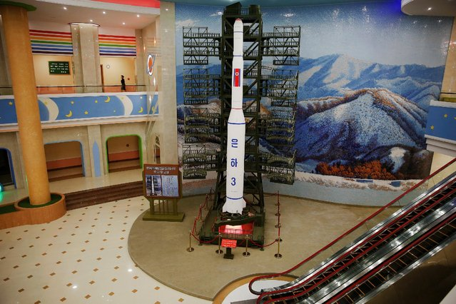 A model of a rocket is placed inside the Mangyongdae Children's Palace in central Pyongyang, North Korea May 5, 2016. (Photo by Damir Sagolj/Reuters)