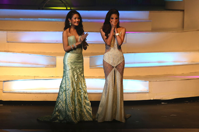 Nissa Katerahong reacts after winning the 2014 Miss Tiffany's Universe transgender beauty contest on May 2, 2014 in Pattaya, Thailand. (Photo by Taylor Weidman/Getty Images)