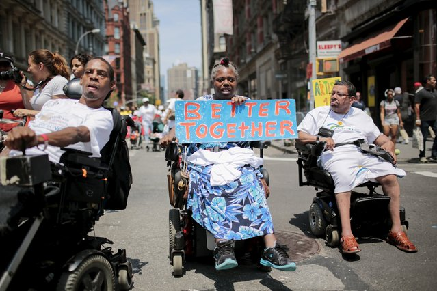 People on wheelchairs with different disabilities take part in the disability pride parade in New York, July 12, 2015. (Photo by Eduardo Munoz/Reuters)