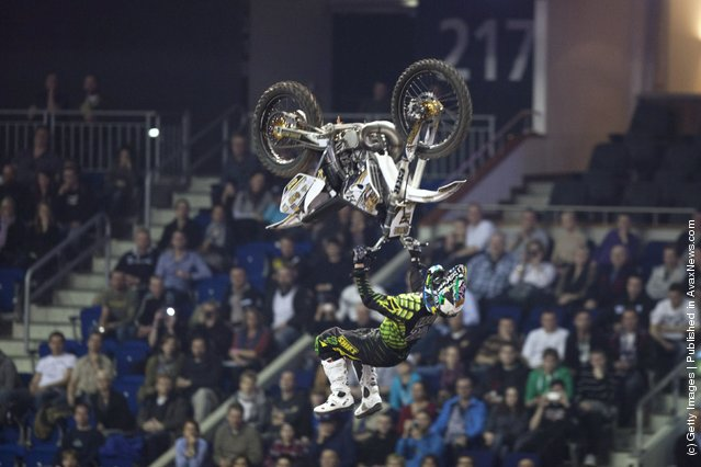 Brice Izzo races at the Night of the Jumps freestyle motocross acrobatics at O2 arena