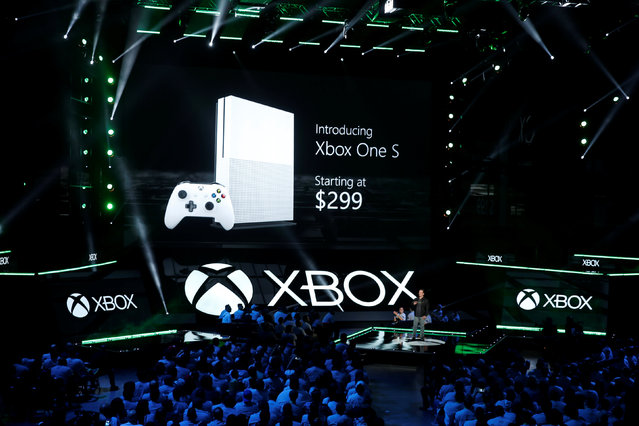 Head of Microsoft Xbox Phil Spencer unveils the Xbox One S console at the Xbox E3 2016 media briefing in Los Angeles, California, U.S., June 13, 2016. (Photo by Lucy Nicholson/Reuters)