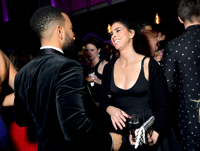 (L-R) John Legend and Sarah Silverman attend the 2020 Vanity Fair Oscar Party hosted by Radhika Jones at Wallis Annenberg Center for the Performing Arts on February 09, 2020 in Beverly Hills, California. (Photo by Emma McIntyre /VF20/WireImage)