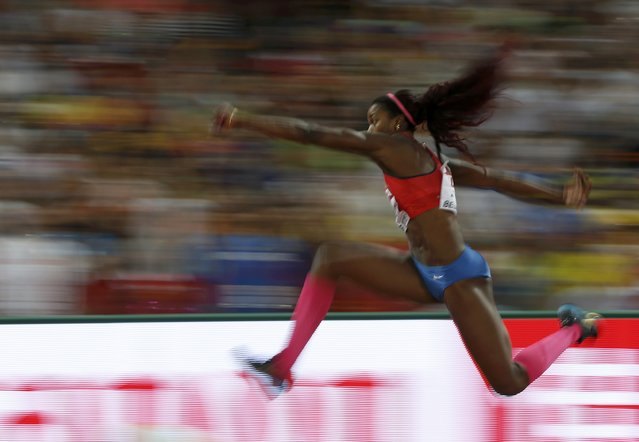 Caterine Ibarguen of Colombia competes in the women's triple jump final during the 15th IAAF World Championships at the National Stadium in Beijing, China, August 24, 2015. (Photo by Phil Noble/Reuters)
