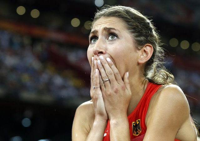 Gesa Felicitas Krause of Germany reacts after finishing third in the women's 3000 metres steeplechase final at the IAAF World Championships at the National Stadium in Beijing, China August 26, 2015. (Photo by Phil Noble/Reuters)