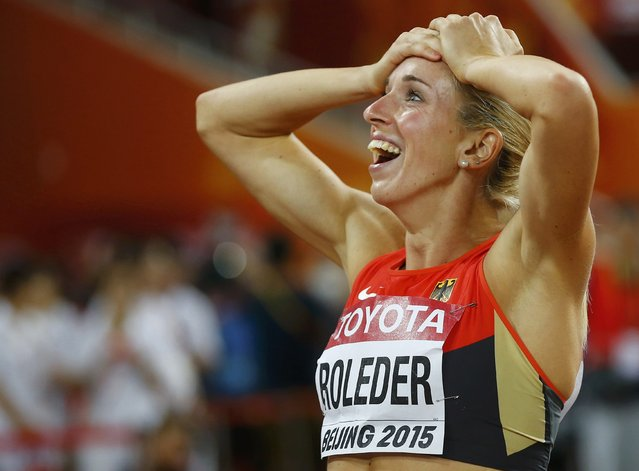 Second placed Cindy Roleder of Germany reacts after winning silver at the women's 100 metres hurdles final during the 15th IAAF World Championships at the National Stadium in Beijing, China, August 28, 2015. (Photo by Kai Pfaffenbach/Reuters)