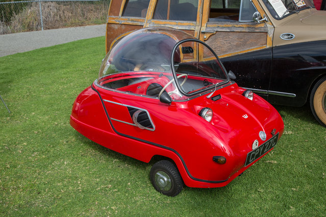 No Concours d'Lemons is complete without a Peel Trident, one of the smallest and least competent cars ever built. (Photo by Robert Kerian/Yahoo Autos)