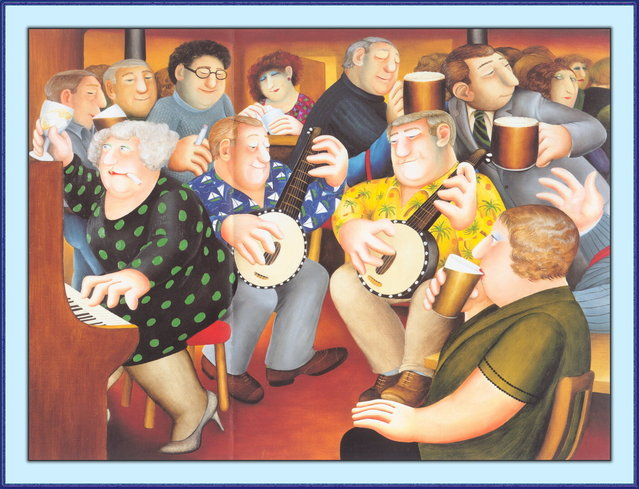 The Banjo Players. Artwork by Beryl Cook