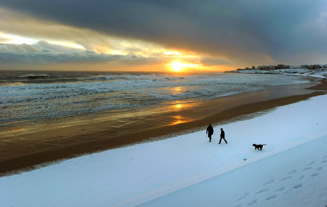 Early morning walkers and their dog stroll Tynemouth beach in England, November 28, 2007. (Photo by Owen Humphreys/Press Association)