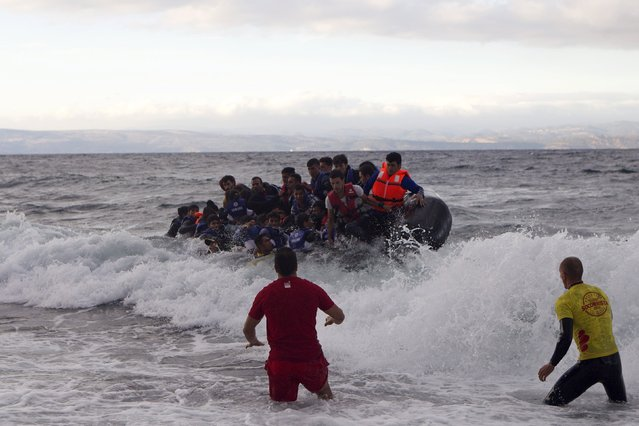 Volunteers (front) prepare to intervene as refugees and migrants struggle to prevent an overcrowded dinghy from capsizing on the Greek island of Lesbos, after crossing in rough seas from the Turkish coast, October 2, 2015. (Photo by Dimitris Michalakis/Reuters)