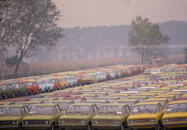 Seen here is the Fiat parking lot in the Turin outskirts of  Italy, October 7, 1974, where part of the 300,000 unsold Fiat cars are stored. Fiat placed 71,000 workers on reduced working week today, while unions called for a four hours strike in the Piedmont region threatening a nationwide strike to protest Fiat's decision. (Photo by Raoul Fornezza/AP Photo)