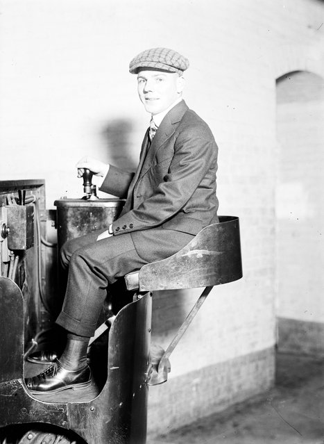 """Monorail Subway, Capitol To Senate. John W. Hinkel, Operator Of Car, 1914"". (Photo by Harris & Ewing Collection)"