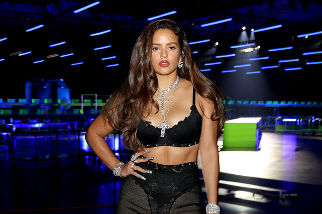In this image released on October 1, Rosalía is seen onstage during Rihanna's Savage X Fenty Show Vol. 2 presented by Amazon Prime Video at the Los Angeles Convention Center in Los Angeles, California; and broadcast on October 2, 2020. (Photo by Jerritt Clark/Getty Images for Savage X Fenty Show Vol. 2 Presented by Amazon Prime Video)
