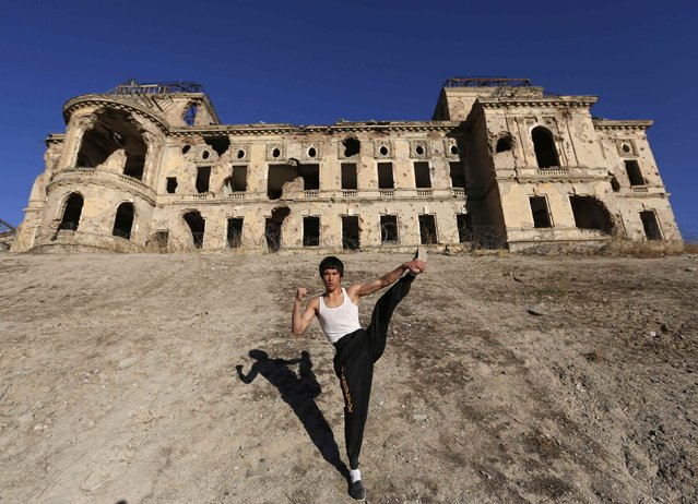 Abbas Alizada, who calls himself the Afghan Bruce Lee, poses for the media in front of the destroyed Darul Aman Palace in Kabul December 9, 2014. (Photo by Mohammad Ismail/Reuters)