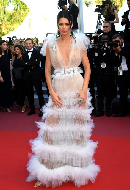 "Kendall Jenner attends the screening of ""Girls Of The Sun (Les Filles Du Soleil)"" during the 71st annual Cannes Film Festival at Palais des Festivals on May 12, 2018 in Cannes, France. (Photo by Stephane Cardinale/Corbis via Getty Images)"
