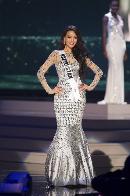 Aiday Issayeva, Miss Kazakhstan 2014 competes on stage in her evening gown during the Miss Universe Preliminary Show in Miami, Florida in this January 21, 2015 handout photo. (Photo by Reuters/Miss Universe Organization)