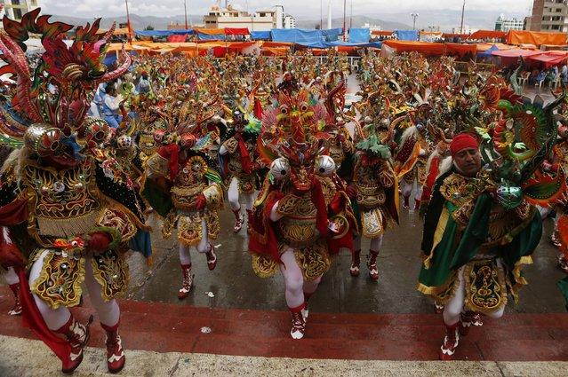 "Dancers perform the traditional ""Diablada"" or Dance of the Devils during Carnival celebrations in Oruro, Bolivia, Saturday February 14, 2015. (Photo by Juan Karita/AP Photo)"
