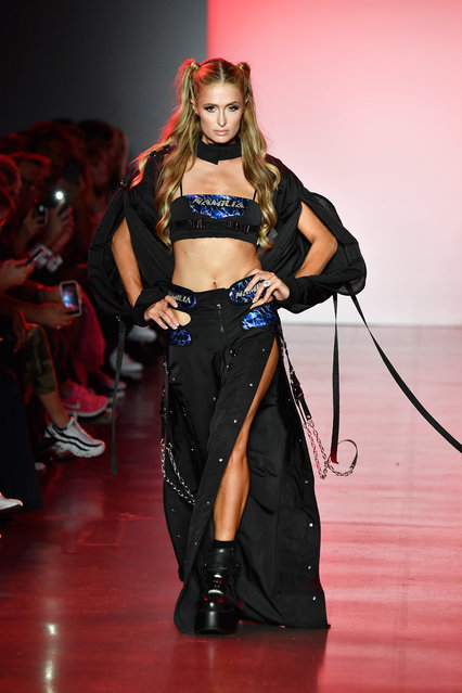 Paris Hilton walks the runway for Namilia during New York Fashion Week: The Shows at Gallery II at Spring Studios on September 11, 2018 in New York City. (Photo by Frazer Harrison/Getty Images)