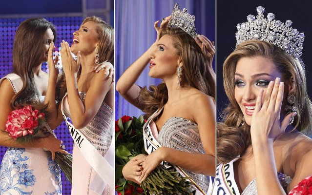 Migbelis Castellanos is crowned new Miss Venezuela 2013 in Caracas on October 10, 2013. (Photos by Ariana Cubillos/AP Photo)