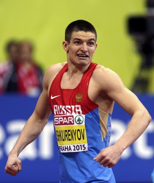 Ilya Shkurenyov of Russia celebrates after competing in the men's heptathlon 60 metres hurdles event during the IAAF European Indoor Championships in Prague March 8, 2015. REUTERS/David W Cerny (CZECH REPUBLIC  - Tags: SPORT ATHLETICS)