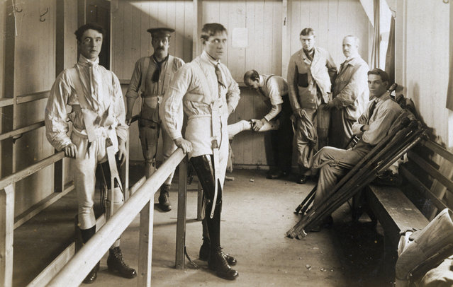 Postcard of British soldiers wearing artificial legs, 1916. The parallel bars are to support the men as they learn to walk with their new limbs. This scene was almost certainly photographed at Queen Mary's Convalescent Auxiliary Hospital, Roehampton, London. This specialised orthopaedic hospital opened in 1915 and was mainly devoted to fitting artificial limbs to British soldiers who lost limbs during World War One, 1914-1918, of whom there were around 240,000.  (Photo by SSPL/Getty Images)