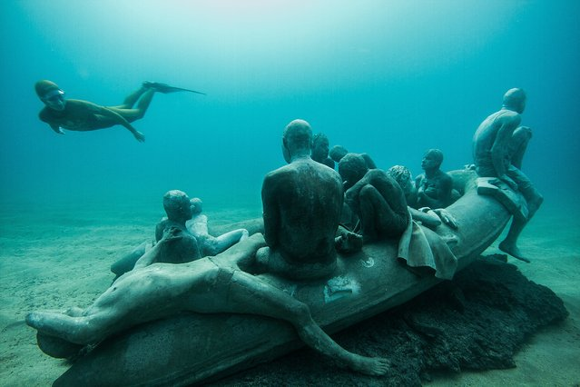 Artist Jason deCaires Taylor's Museo Atlantico, off Lanzarote, is peopled with concrete casts of refugees and people taking selfies. Drowned world: welcome to Europe's first undersea sculpture museum. Here: The Raft of Lampedusa, Taylor's modern-day concrete echo of Géricault's The Raft of the Medusa. The work has particular significance given the huge movement of refugees across the sea to Europe – and the frequent fatalities that result. (Photo by Jason deCaires Taylor)