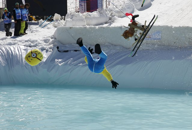 A man participates in the Red Bull Jump & Freeze Lebanon at Mzaar Kfardebian Ski Resort in mount Lebanon February 28, 2016. (Photo by Jamal Saidi/Reuters)